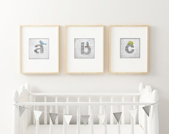 Monogram Letter Art, ABC Art, Wall Letters, Cute Birds, Alphabet Art Print, Letter Art, Initials, Monogram Letter Art, Bird Art, Nursery Art