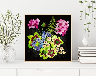 Geranium Flower Painting-Floral-Wall Art-Pink-Watercolor Flowers-Watercolor Painting-Art Print-Floral-Gift for Her-Bedroom-Office Decor