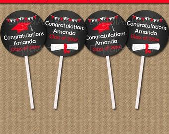 Cupcake Toppers Graduation Chalkboard Printable, High School Graduation Party Decorations, College Graduation Ideas, Graduation Favor Tag G7