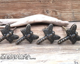 SET OF 4 - Dragonfly Knobs - Cabinet Knob Lighting Bug Dragon Fly Drawer Pull - Cast Iron Knob - Nature Nursery Decor