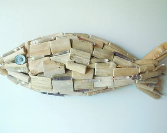 Driftwood Fish Wall Decor-Drift wood Art-Beach Decor-Coastal Decor-seashells-Shell Fish-Natural Driftwood-Driftwood Wall Sculpture-Shell Art