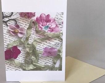 PRESSED FLOWER COLLAGE, pink vintage style greeting card, blank greeting card, pressed flower card, photo collage card, antique style card