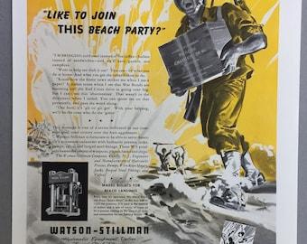 "1943 Watson-Stillman Company Print Ad - Hydraulic Equipment - ""Like to join the Beach Party?"" - WWII Era - WW2"