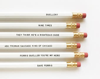 Ferris Bueller personalized pencil set • 80's movie quotes engraved pencils • back to school • gift idea • Life moves pretty fast