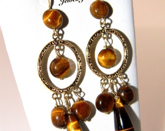 Gold Tiger Eye Gemstone Chandelier Earrings