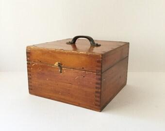 Vintage Scientific Instrument Storage Box, Wooden Storage Box, Sewing Box