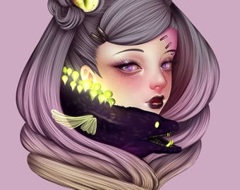 "Art Print ""Unagi"" - Surreal, Creepy Cute, Pastel Art, Wall Art, Pastel Goth, Kawaii, Outsider Art, Weird, Quirky Art"