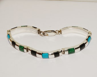 Sterling Stamped Genuine Malachite Onyx and Turquoise Stone Inlad Bracelet.