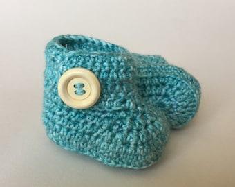 Aqua baby booties, baby shoes, crochet baby shoes, crib shoes, baby, baby footwear, booties, baby slippers, crochet