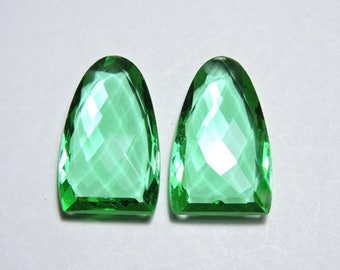 2 Pieces Very Beautiful Teal Green Quartz Faceted One Side Checker Cut And One Side Table Cut Fancy Shaped Beads Size 25X15 MM