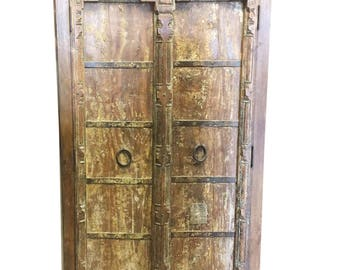 Antique Almirah Old Doors Rustic Furniture Iron Storage Cabinet Vintage Shabby Chic Decor FARMHOUSE SHABBY CHIC