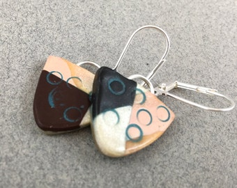 Clay dangle earrings color block design lightweight small modern design neutral colors boho