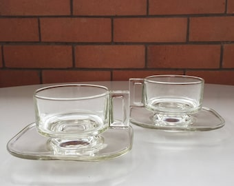 Joe Colombo Italy 1960s glass cups and saucers