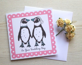 "Cute Bride and Groom Penguins ""On Your Waddling Day"" 6x6"" Square Wedding Greetings Card With Envelope"