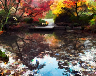 Fall Pond Landscape Image, Fall color Landscape, Seattle Arboretum Pond,