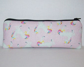 """Pipe Pouch, Pink Unicorn Bag, Pipe Case, Glass Pipe Bag, Vape Pen Bag, Magical Gift, Weed, Cannabis, Cute Pouch, Zipper Pouch - 7.5"""" LARGE"""