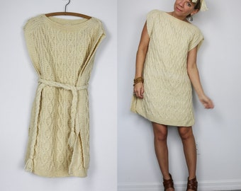 Handmade Vintage Bone White Cable Knit Tunic Mini Dress in size Small, Medium, and could potentially fit Large