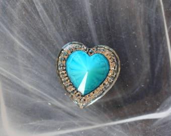 large blue cabochon heart scrapbooking