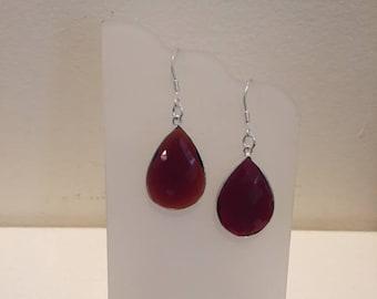 Red Garnet Teardrop Dangle Earrings, Red Garnet Earrings, Garnet Earrings, Teardrop Gemstone Earrings, Sterling Silver Gemstone Earrings