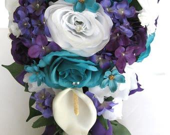 "17 piece package Wedding bouquets Bridal Artificial Silk flowers Cascade Plum PURPLE TURQUOISE CALLA Lily bouquet set ""RosesandDreams"""