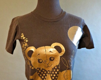 80s 90s Fitted Graphic Tee t-shirt Cape May Teddy bear Shirt Top Small