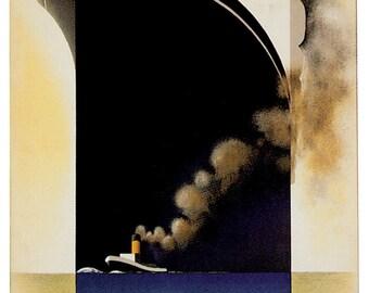 Vintage Cruise Liner L'Atlantique Poster A3 / A2 Print