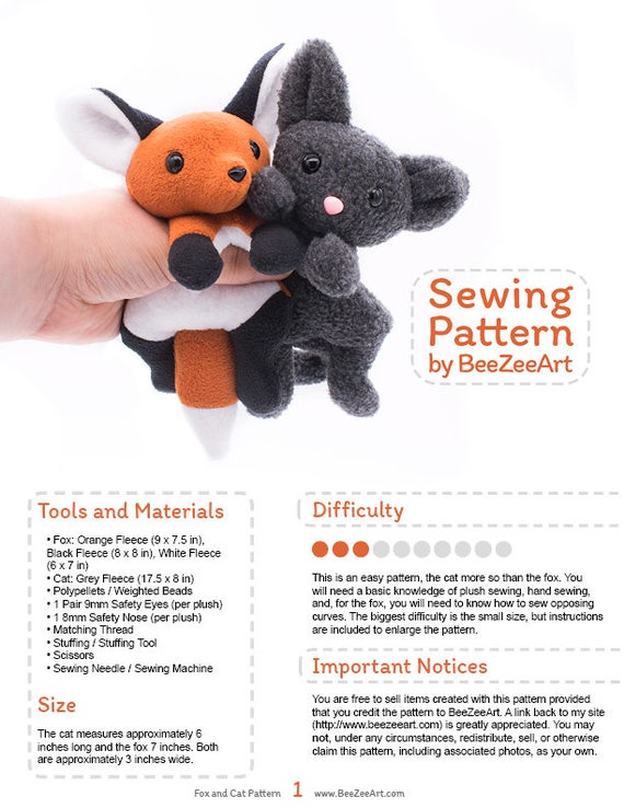 Fox and Cat Stuffed Animal Sewing Pattern Plush Toy Pattern