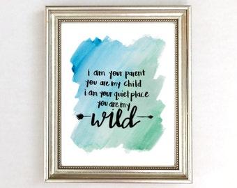 Boys Nursery Decor Art Print, Arrow Nursery Print, Blue Nursery Print, Turquoise Nursery, Watercolor Nursery Wall Art, You Are My Wild