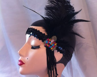 vintage flapper headband hat art deco brooch ostrich feather hat fascinator 1920 1930 costume dance downton abbey party