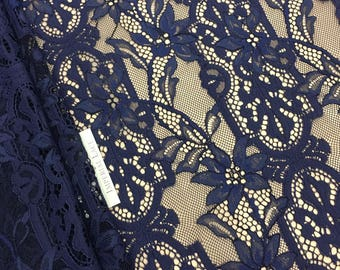 dark Blue lace fabric, French Lace,  lace,  blue chantilly lace, soft lace fabric, navy blue lace, spitzen stoff, blue lace,  K00587