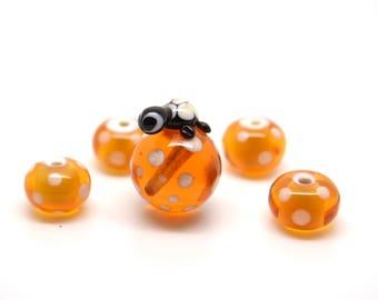 Pearls set Lampwork tortoise honey caramel / 5 pieces
