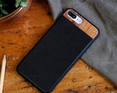 Leather iPhone 8 plus Case, iPhone 8 plus Leather Case, Wood/Leather iPhone 8 plus Case - LTR-BL-I8P