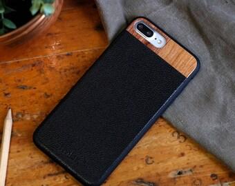Leather iPhone 8 plus Case, iPhone 8 plus Leather Case, Wood/Leather iPhone 8 plus Case - LTR-BL-I8P