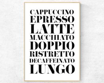 Coffee poster, Kitchen wall art, Modern Typography Print, Scandinavian decor, Minimalist print, Kitchen quote, Nordic Digital Art Poster