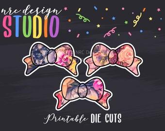 SALE Planner Die Cuts Printable, Bow Die Cuts, Floral Die Cuts, Floral Bow Die Cuts, Scrapbook Die Cuts, Planner Accessories - Office