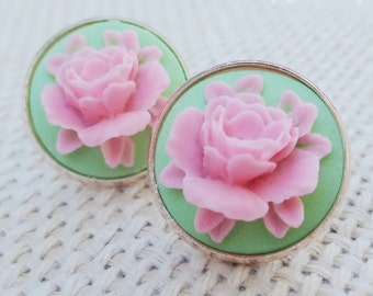 Blooming 3D Rose Flower Mint Green Blush Pink Cameo Rose Gold Statement Bridal Wedding Post Earrings Bridesmaids Ask Gifts