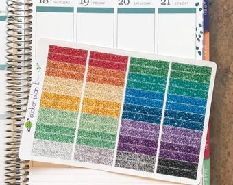 Glitter MDN Header Stickers with, Set of 56, for use in Vertical Erin Condren Life Planners!