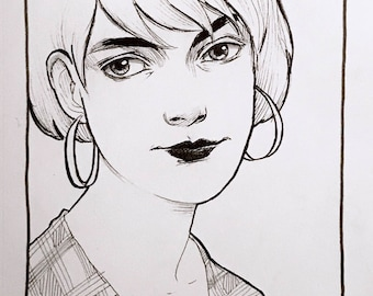 "Original Ink Drawing ""Plaid"" by Amy Abshier"