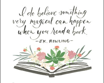 Flower Book - Print with J.K. Rowling quote