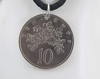 Jamaica Flower Coin Necklace, 10 Cents, Coin Pendant, Mens Necklace, Womens Necklace, Leather Cord, Birth Year, 1977