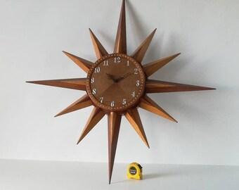 CLOCK Sun 35 inch oak Vintage 1960/70s.