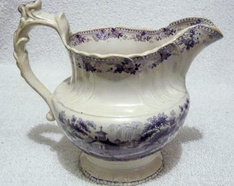 An Antique Staffordshire Mulberry Transferware Georgian Ribbed Jug / Pitcher