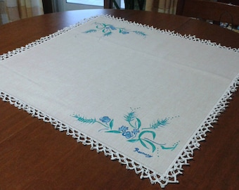 Table Center in Linen canvas hand painted