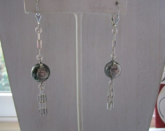 Vintage Rock Crystal Flower Repousse Band Pools of Light Sterling Earrings