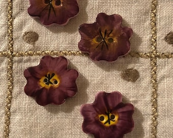 Vintage Buttons - Sweet Pansy Ceramic Buttons Set of 4
