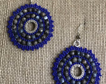 Hoop Earrings - Beaded hoop earrings - Hoop Earrings - Native American  Seed Bead Earrings Free Shipping Available
