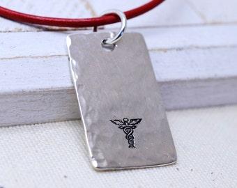Medical Alert Necklace, Medical ID Necklace, Diabetic Necklace, Sterling Silver, Allergy Alert Bracelet, Engraved Personalized Necklace