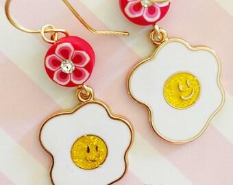 KITSCHY FRIED EGGS Earrings, Whimsical Earrings, Pink Earrings, Food Earrings, Smiley Face Earrings, Flower Earrings