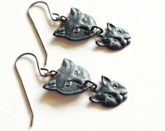 Black Cat Dangle Earrings Kitten Jewelry Mother and Child Gift Black Cat Jewelry