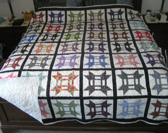 Extra long king size multicolor quilt